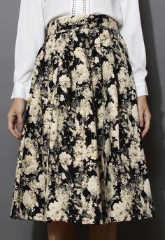 Retro Floral Print Midi Skirt - Skirt - Bottoms - Retro, Indie and Unique Fashion