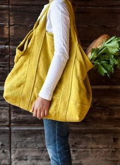 Discover thousands of images about Nice big overnight bagOversized canvas tote in bright yellowNew fashion mixed color backpack&shoulder bag(linen material) – BuykudPin by Dream Interpretation on Random stuffQue tal uma bolsa grande? Sacs Tote Bags, Big Tote Bags, Purses And Bags, Canvas Tote Bags, Linen Bag, Denim Bag, Fabric Bags, Cotton Bag, Handmade Bags