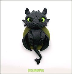 Fantasy - Toothless Dragon - Polymer Clay Charm #3 by buzhandmade.deviantart.com on @deviantART