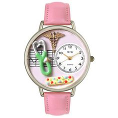 Nurse 2 Pink Leather And Silvertone Watch