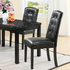 Modway Perdure Dining Chairs Set of 2 in Black