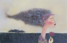 Artist Kate Smith   Manchester England, 1947 Kate Smith, Manchester England, Woman Painting, Whimsical Art, Portrait Art, Fantasy Art, Street Art, Illustration Art, Pure Products