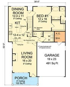 Cottage with First Floor Master - 52213WM | Bungalow, Cottage, Country, Traditional, Narrow Lot, 1st Floor Master Suite, Butler Walk-in Pantry, CAD Available, Media-Game-Home Theater, PDF | Architectural Designs