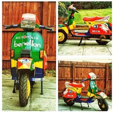 United Colours of Benetton. A stunning Pic credit to Vespa T5, Lambretta Scooter, Vespa Scooters, Scooter Design, Sidecar, Mk1, Benetton, Chopper, Weapon