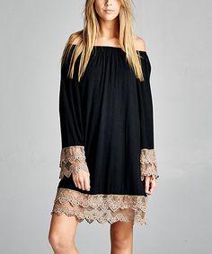 VELZERA Black Lace Off-Shoulder Tunic | zulily