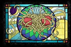 flying spaghetti monster stained glass | It was created by artist Sarah Pierce .