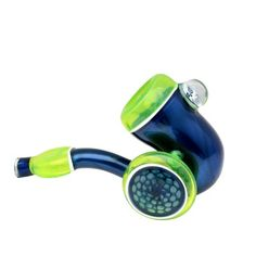 Glass Sherlock Pipe - Inside out with Heavy Electric Blue Sections & Slyme Accents