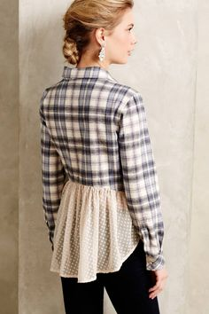 Anthropologie Willow Ridge Buttondown XXSP MP Plaid Flannel Shirt Holding Horses #HoldingHorses #ButtonDownShirt #Career