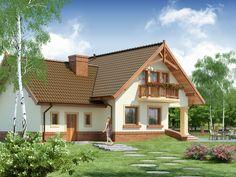Wizualizacja DA Gracjan CE Simple House Design, Dream Home Design, Modern House Design, 2bhk House Plan, Model House Plan, 1200 Sq Ft House, Hacienda Homes, Courtyard House Plans, Country House Plans