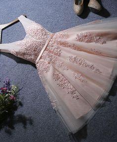 short A-line pink lace appliqued homecoming dress Dama Dresses, Quince Dresses, Hoco Dresses, Sexy Dresses, Bridesmaid Dresses, Formal Dresses, Prom Dress, Fashion Dresses, 1950s Dresses