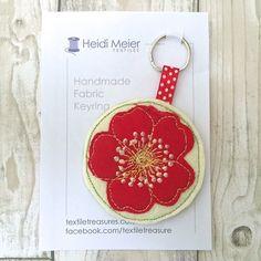 Textile Briar rose floral keyring - key ring felt, floral bag charm, £12.50