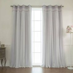 Product Image for Decorinnovation Sheer Overlay Grommet Top Blackout Window Curtain Panel Pair 1 out of 4