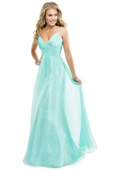 2014 Prom Dress Spaghetti Straps Chiffon A Line Ruffled Bodice With Criss Crossed Back Mint USD 129.99 VUPM1T7QT7 - VoguePromDressesUK