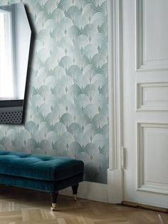 The Pigalle wallpaper is a beautiful floral design with art deco inspired geometric and symmetrical patterns, displayed in uniquely playful way. The designer of the Pigalle wallpaper took inspiration from Paris, and fro Art Deco Wallpaper, Home Wallpaper, Designer Wallpaper, Pattern Wallpaper, Wallpaper Wallpapers, Trending Art, Made To Measure Curtains, Curtain Designs, Luxor