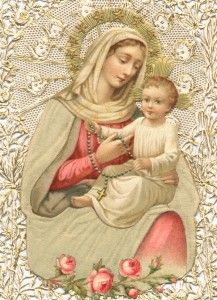 The Blessed Mother, the Child Jesus, and Roses.