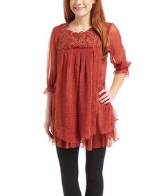 $29.99 Look what I found on #zulily! Rust Layered Silk-Blend Tunic #zulilyfinds