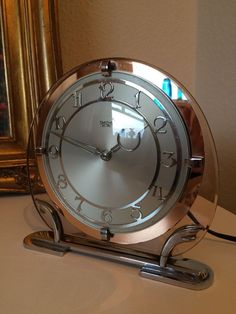 Stunning Vintage Art Deco Chrome & Glass Mantle Clock Smiths Sectric