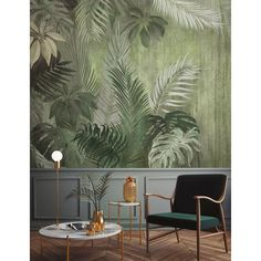 Palm Leaf Wallpaper, Tropical Wallpaper, Wallpaper Roll, Wallpaper Panels, Tropical Home Decor, Tropical Houses, Monochrome, Pool Party Decorations, Cafe Design