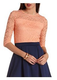 three quarter sleeve lace so cute to pair with skater skirts