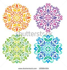 Ornamental round floral pattern. Set of four colorful ornament - stock vector