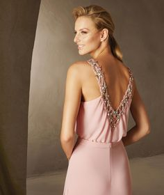 Pronovias > BALEAR - Cocktail dress with a halter neckline. Flared and sleeveless