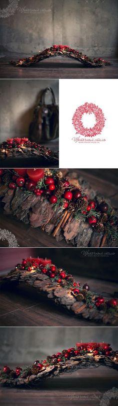 Christmas DIY: Very unique rustic C Very unique rustic Christmas candle centerpiece in the gallery boutiques Mon Plaisir DEKAPT Ermenegildo Zegna Rustic Christmas, Winter Christmas, Christmas Home, Christmas Wreaths, Christmas Ornaments, Christmas Candles, Christmas Branches, Advent Wreaths, Christmas Fireplace