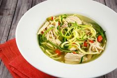 Checkout this low calorie Chicken Zoodle Soup Recipe at LaaLoosh.com. A healthier and lighter alternative to traditional chicken noodle soup.