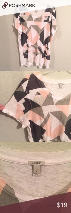 J. Crew Geometric Shape Linen Tee I liked the style and it was the last left so I bought but it's too big for me. Smoke free home. Open to offers. Comment if you have any questions! I get back to you within the hour. J. Crew Tops Tees - Short Sleeve
