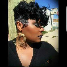 Styles like this my hair is similar an i like to be versital Cute Hairstyles For Short Hair, Black Girls Hairstyles, Curly Hair Styles, Sleek Hairstyles, Beautiful Hairstyles, Short Sassy Hair, Short Hair Cuts, Short Pixie, Pixie Cuts
