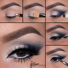 "Motives cosmetics by applying ""Angel"" Khol eyeliner as a base all over… Makeup Eye Looks, Eye Makeup Steps, Blue Eye Makeup, Makeup For Brown Eyes, Beauty Makeup, Navy Blue Dress Makeup, Blue Eyeshadow For Brown Eyes, Navy Makeup, Blue Smokey Eye"