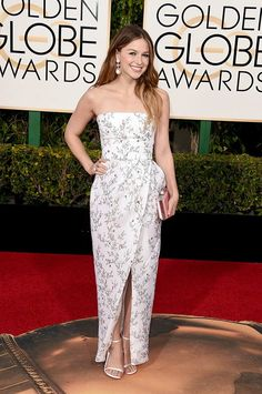 Actress Melissa Benoist in Monique Lhuillier attends the 73rd Annual Golden Globe Awards held at the Beverly Hilton Hotel on January 10, 2016 in Beverly Hills, California.