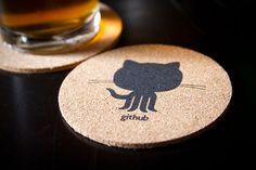 Cork coasters, by GitHub