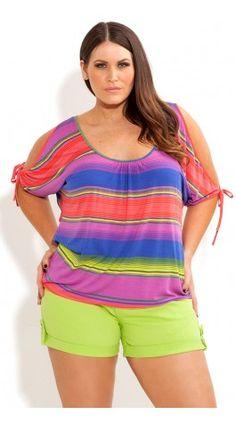 Plus Size Licorice Split Sleeve Top - City Chic - City Chic