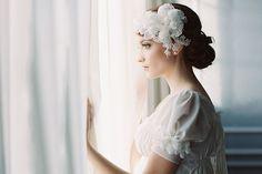 PRIMROSE DOUBLE SILK FLOWER BRIDAL HEADPIECE HAIR SET | Erica Elizabeth Designs and Pretty Things Wedding Accessories