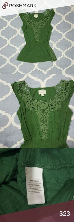 """Deletta Anthropologie Green Lacy Blouse XS Deletta by Anthropologie women's blouse. Size XS. Hunter green. Lacy detail. Cap sleeve. 100% cotton. Used condition. Length: 25""""  Chest: 15""""  B1106 &e Anthropologie Tops Blouses"""