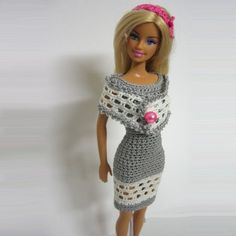 Handmade crochet Barbie doll clothes gray dress white pink headband : loststitch - ArtFire Dolls & Miniatures | Craft Juice