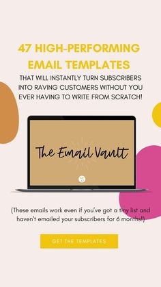 Imagine having a stack of 47 plug and play high-wattage email templates at your fingertips that will instantly turn subscribers into raving customers without you EVER having to write from scratch!  (even if you've got a tiny list and haven't emailed your subscribers for 6 months!)