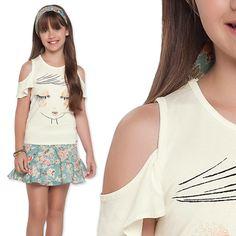 Girls o que falar desse look? Simplesmente maravilhoso, a cara do verão e o detalhe fica por conta da blusa, pra finalizar a compô uma saia floral super charmosa. ❤❤  Disponível do 6 ao 10. #summer2016 #artemenor #lookam #girlskids #love #tendência #euusopurezababy