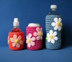 Cosies. Crochet pattern available for a US$3.99 download from Ravelry.    #crochet, #drink cosy