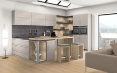 Combine melamine White Halifax Oak with the counter Natural Halifax Oak. Cuisines Design, Decoration, Double Vanity, Beautiful Homes, Kitchen, Table, Room, House, Furniture