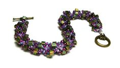 "Beaded Bracelet Beadweaving Handmade Seed Beads Miyuki Cube Beads Spiral Pattern Jewelry Purple Green Iris 8 3/8"" 21 CM. $25.00, via Etsy."