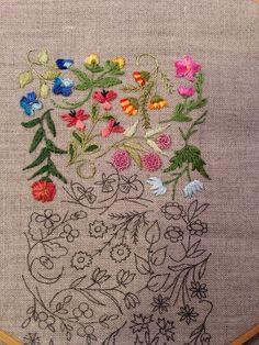 Mille Fleurs - Progress 8 straight stitch stem stitch and long and short stitch.