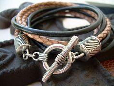 Mens Leather Bracelet  Four Strand Double Wrap Black and Natural Braid, Mens Jewelry, Mens Bracelet, Mens Gift