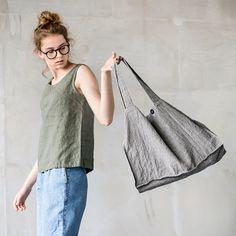 Large natural linen tote bag / linen beach bag by notPERFECTLINEN