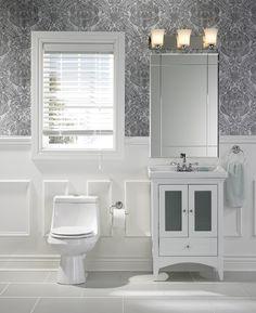 Transform your #bathroom by adding accent #wallpaper. | Dynamisez votre salle de bains à l'aide d'un papier peint coloré. #salledebains #papierpeint