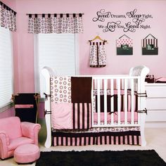 """""""Sweet Dreams Sleep Tight We Love You Goodnight"""" vinyl lettering home decor for a child's nursery or over a crib. See more decals at www.lacybella.com"""