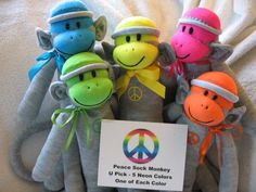 This is so adorable!  Peace Sign Sock Monkey by auntyanndesigns