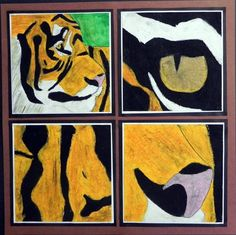 """Four Views of an Animal"" by Elizabeth8188, Artsonia. This project could be applied to a variety of subjects (still-life, figures, animals, etc.). It invited students to make choices about interesting composition & design."