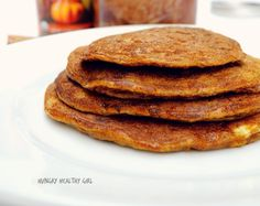 Flourless Pumpkin Pancakes by Hungry Healthy Girl Gluten Free Recipes For Breakfast, Paleo Breakfast, Brunch Recipes, Low Carb Recipes, Cooking Recipes, Breakfast Options, Paleo Sweets, Gluten Free Sweets, Healthy Desserts