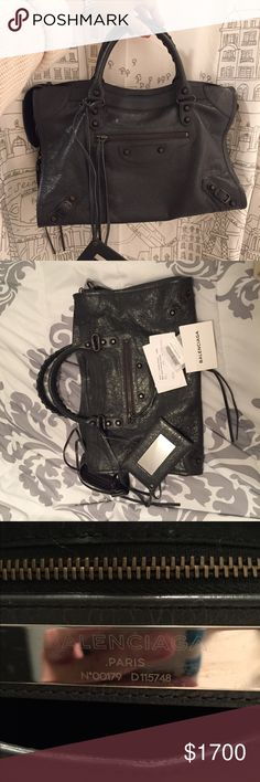 ⭐️LAST CHANCE TO SAVE ⭐️ Balenciaga City ⭐️ LAST CHANCE TO SAVE 💰💰💰 on this stunning Bal City!!! Sending off to a secondhand shop if no buyers by 11:59 PM ET on 4/19/2017 ⭐️ Dark gray (gris fossile) City in pristine condition! Includes shoulder strap, mirror, authenticity cards, and dust bag. Purchased from Neiman Marcus late last year. Pet-free, smoke-free home. Balenciaga Bags Satchels